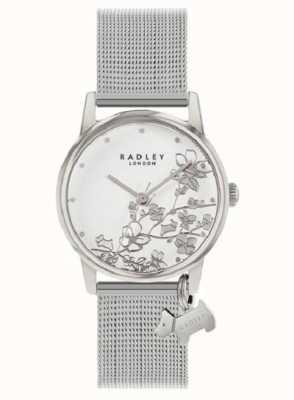 Radley Floral botânico | pulseira de malha de prata | mostrador branco floral RY4401