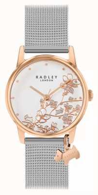 Radley Floral botânico | pulseira de malha de prata | mostrador branco floral RY4399