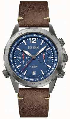 BOSS | nômade masculino | pulseira de couro marrom | mostrador azul | 1513773