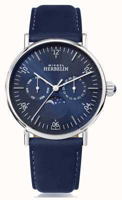 Michel Herbelin Pulseira de couro azul inoxidável inspirada na fase da lua de Montre 12747/AP15BL