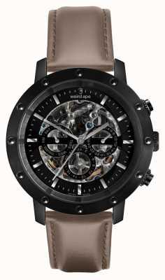 Weird Ape Ícaro 3 discagem | mostrador preto | pulseira de couro de avelã WA02-005703