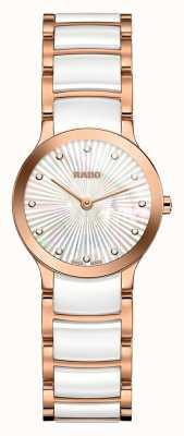 RADO Diamantes Centrix em cerâmica branca e ouro rosa R30186912