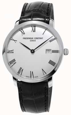 Frederique Constant Mens slimline | automático | couro preto | mostrador prateado FC-306MR4S6