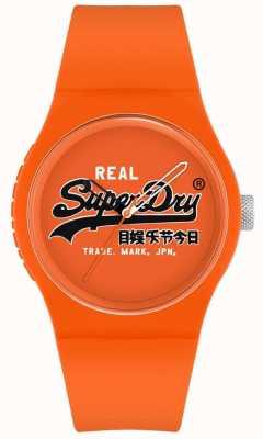 Superdry Original urbano | pulseira de silicone laranja | mostrador laranja com impressão | SYG280OB