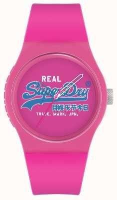 Superdry Original urbano | pulseira de silicone rosa | marcação de impressão rosa | SYL280PU