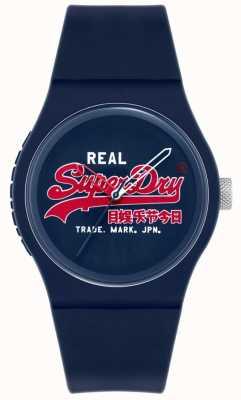 Superdry Original urbano | pulseira de silicone azul | mostrador azul | SYG280UR
