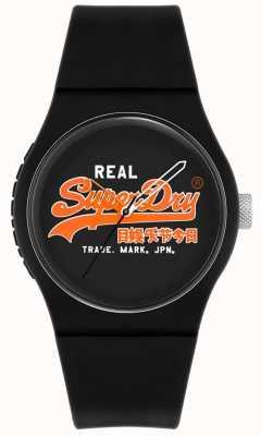 Superdry Original urbano | pulseira de silicone preta | mostrador preto | SYG280BO