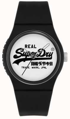 Superdry Original urbano | pulseira de silicone preta | mostrador branco | SYG280BW