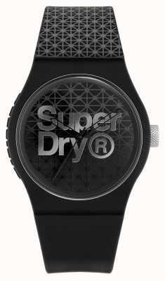 Superdry Esporte geo urbano | pulseira de silicone preto / cinza | mostrador preto / cinza SYG268B