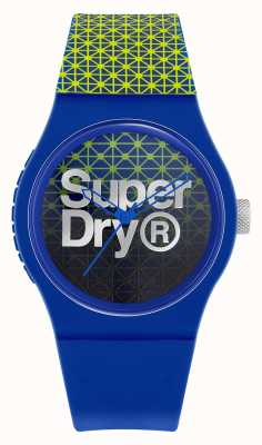 Superdry Esporte geo urbano | pulseira de silicone azul / verde | mostrador azul / verde SYG268UN