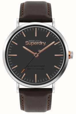 Superdry Oxford pulseira de couro marrom | mostrador marrom | SYG287BR