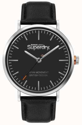 Superdry Oxford pulseira de couro preto | mostrador preto | SYG287B