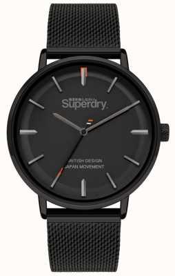 Superdry Ascot xl | pulseira de malha preta | mostrador preto | SYG284BM