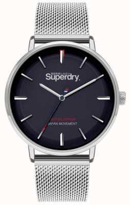 Superdry Ascot xl | pulseira de malha de prata | mostrador azul | SYG284SM