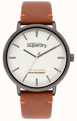 Superdry Ascot xl | pulseira de couro marrom | mostrador cinza | SYG283T
