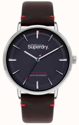 Superdry Ascot xl | pulseira de couro marrom | mostrador azul | SYG283BR