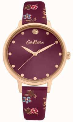 Cath Kidston Bracelete de couro com estampa floral de amoreira para mulher | mostrador de ameixa | CKL089R