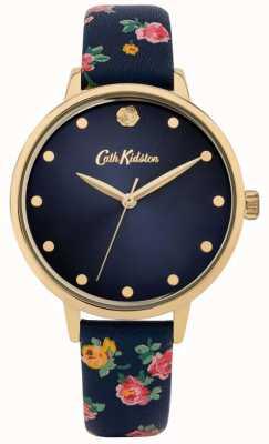 Cath Kidston | pulseira de couro floral marinho para mulher | mostrador da marinha | CKL089U