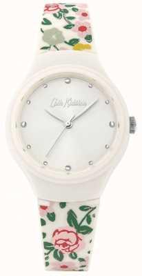 Cath Kidston Bracelete de silicone floral creme para mulher | mostrador branco | CKL086W