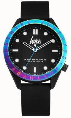Hype Bracelete de silicone preto para homem | mostrador preto | moldura multicolorida HYG014B