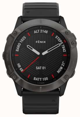 Garmin Fenix 6x safira profissional | dlc cinza carbono | pulseira de borracha preta 010-02157-11