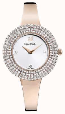 Swarovski | rosa de cristal | pulseira tom ouro rosa | mostrador prateado | 5484073