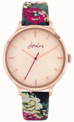 Joules '30º aniversário' | pulseira de couro floral | mostrador rosa | JSL028UPRG