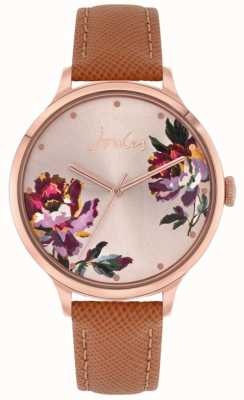 Joules   lavoura de mulheres   pulseira de couro marrom   mostrador floral   JSL021TRG