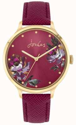 Joules | lavoura de mulheres | pulseira de couro de baga | mostrador floral | JSL021RG