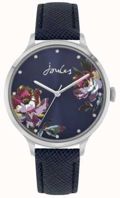 Joules Payton das mulheres | pulseira de couro azul | mostrador floral azul | JSL021U