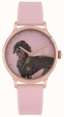 Joules Pulseira de silicone rosa feminina | marcação de impressão dachshund | JSL010PRG