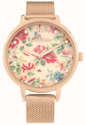 Cath Kidston Pembroke rosa | pulseira de malha de ouro rosa | mostrador floral | CKL085RGM
