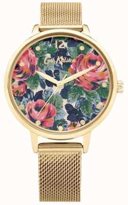 Cath Kidston Pembroke rosa | pulseira de malha de ouro | mostrador floral | CKL085GM