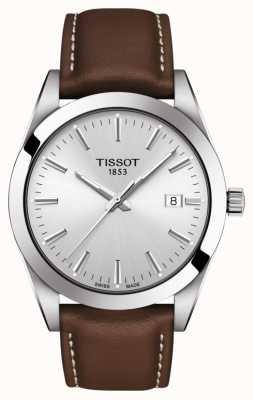 Tissot   cavalheiro   pulseira de couro marrom   mostrador prateado   T1274101603100