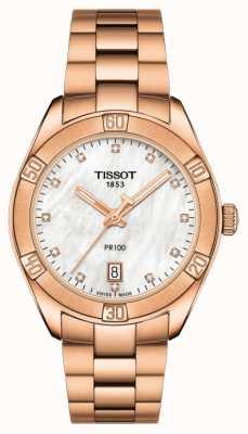 Tissot | pr 100 sport chic | pulseira de ouro rosa | madrepérola T1019103311600