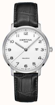 Certina | ds caimano | pulseira de couro de jacaré | mostrador branco | C0354101601200