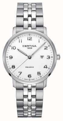 Certina | ds caimano | pulseira de prata em aço inoxidável | mostrador branco C0354101101200