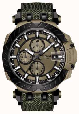 Tissot | corrida t | cronógrafo automático | pulseira de borracha verde | T1154273709100