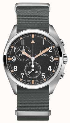 Hamilton Piloto de aviação Khaki pioneiro | pulseira de nato cinza | mostrador preto H76522931