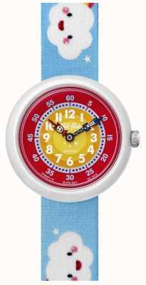 Flik Flak | arco de nuvens | pulseira de tecido com estampa azul | mostrador vermelho / amarelo | FBNP115