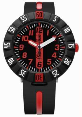 Flik Flak   vermelho à frente   pulseira de plástico preto   mostrador preto / vermelho   FCSP079