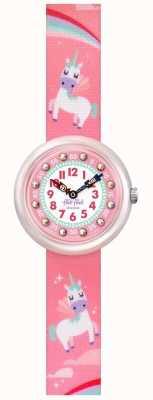 Flik Flak | sonho mágico | pulseira de tecido com estampa de unicórnio rosa | mostrador rosa FBNP121