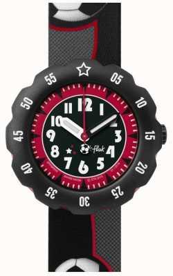 Flik Flak | estrela de futebol | pulseira de tecido estampado preto / cinza | mostrador preto | FPSP010