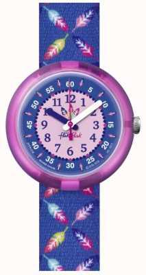Flik Flak | pena legal | pulseira de tecido estampado de penas azuis | mostrador azul FPNP016