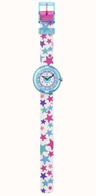 Flik Flak | tähtila | pulseira de tecido com estampa de estrela branca | mostrador azul FBNP081