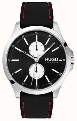 HUGO #jump | pulseira de borracha preta | mostrador preto | 1530001