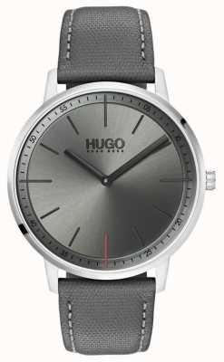 HUGO #exist | pulseira de couro cinza | mostrador cinza | 1520009