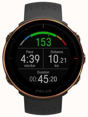 Polar | vantagem m | monitor de freqüência cardíaca | borracha preta | m / lvantage 90080198
