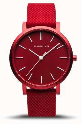 Bering | verdadeira aurora | pulseira de borracha vermelha | mostrador vermelho | 16934-599