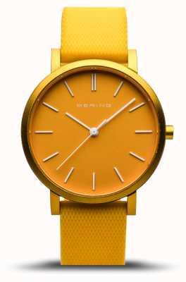 Bering | verdadeira aurora | pulseira de borracha amarela | mostrador amarelo | 16934-699